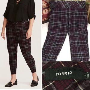 """Torrid"" purple plaid stretch pull-on pixie pant-2"